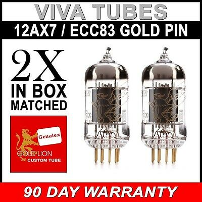 ECC83 B759 GOLD PIN FREE SH New Matched Pair Reissue Genalex Gold Lion 12AX7