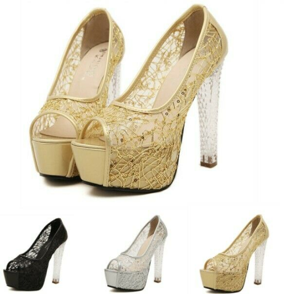 Womens Peep Toe High Block Crystal Heel shoes Platform Hollow Paillette Decor Sz