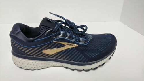 Brooks Ghost 12 Running Shoes, Navy/Gold, Men's 8.