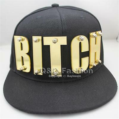 Lady Snapback Baseball Flat Cap Hat Gold Mirror Bitch Letters Word Screw Hiphop