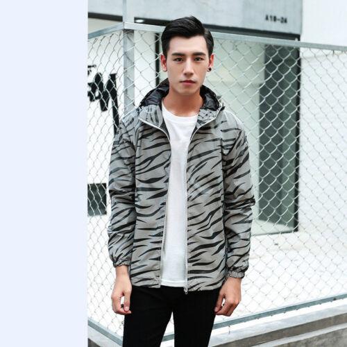 Mens boys 3M Reflective Hooded Biker Jacket Travel Hip Hop Sport Coat Waterproof