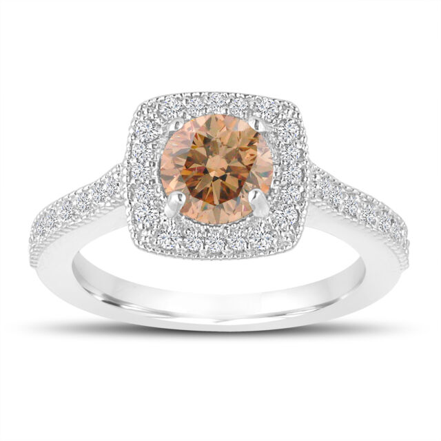 Platinum 1.29 Carat Fancy Champagne Diamond Engagement Ring Halo Pave Certified