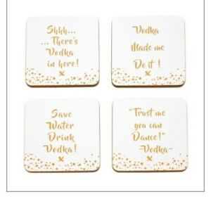 Vodka Coasters Set of 4 Coasters with Gold Vodka Slogans White And Gold - walton-on-thames, Surrey, United Kingdom - Vodka Coasters Set of 4 Coasters with Gold Vodka Slogans White And Gold - walton-on-thames, Surrey, United Kingdom