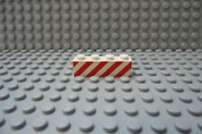 Lego 1x4 BRICK  Red Danger Stripes on White Background Lot of Four