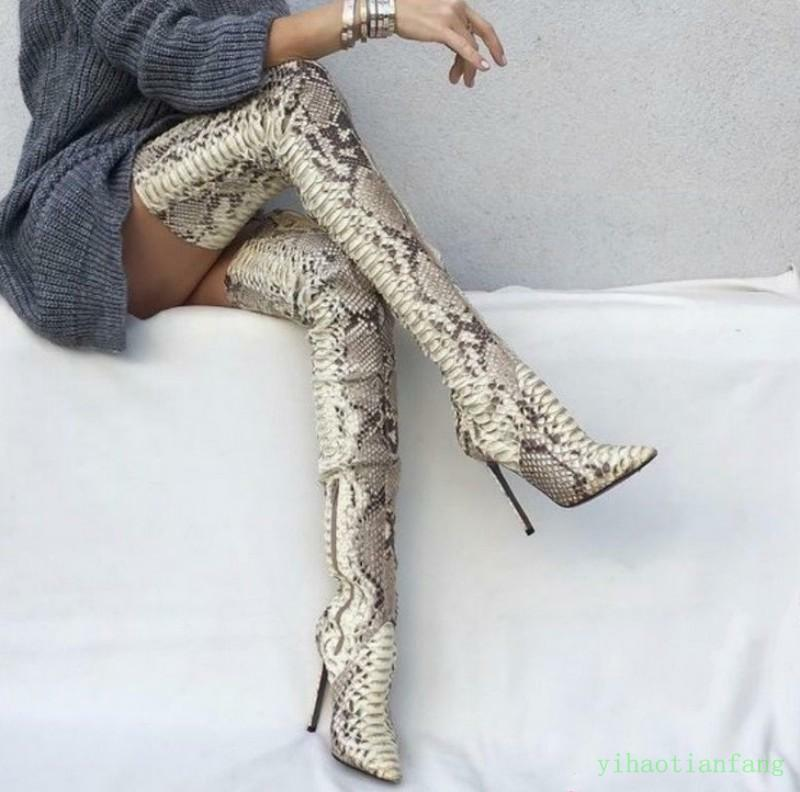 Women Snakeskin Sexy Over The Knee Thigh boots Stiletto High Heels Evening Party