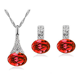 Diamante-Crystal-Red-Jewellery-Set-of-Stud-Earrings-and-Necklace-Pendant-S390