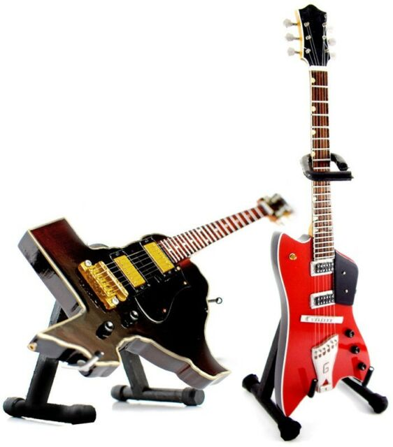 Miniature Guitar ZZ Top Gibbons Red Jupiter and Texas Shaped Set of 2