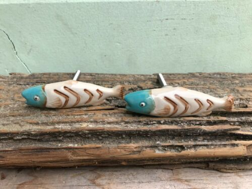 Fishing Cabin Aqua Ceramic FISH Knob Bass Perch Trout Decorative Drawer Pull