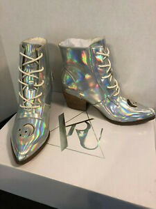 YRU Aura Silver Hologram Ankle Boots
