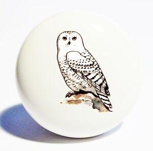 White Snow Owl Home Decor Ceramic Knob Drawer Cabinet Pull