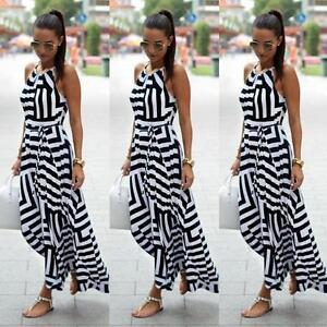 Mode-Damen-Sommer-Lang-Maxi-Boho-Abend-Partykleid-Strand-Kleider-Sommerkleid