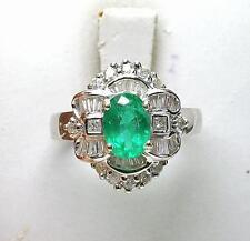 Estate 18k White Gold 70pt. Diamond 1.38ct Natural Emerald Ladies cocktail Ring