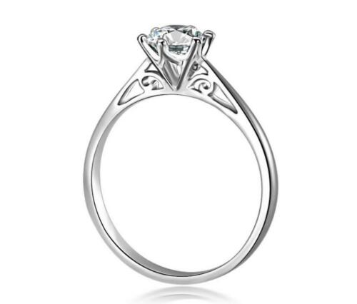 925 Sterling Silver M-inlay Cubic Zirconia Wedding Promise Solitaire Ring RS14