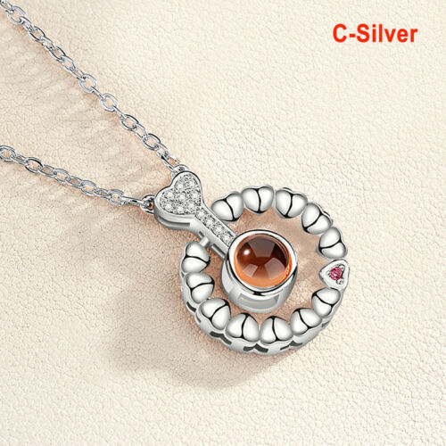 I Love You In 100Language Projection Pendant Necklace For Memory Of Love Gift MR
