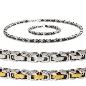 Mens-Stainless-Steel-Link-Chain-Necklace-Bracelet-Set-w-Engraved-Tribal-Design