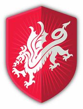 "Red Dragon Shield Symbol Car Bumper Sticker Decal 4"" x 5"""