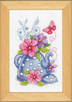 Blue Tea Pot & Flowers : Vervaco Counted Cross Stitch Kit - PN0143920