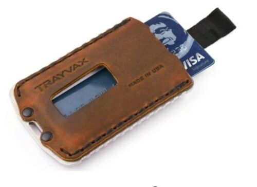 Trayvax Ascent Raw Tabacco Brown Minimalist Wallet Made In USA