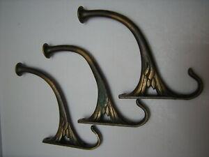 Antique-Fancy-Brass-Coat-Hooks-Set-of-Three