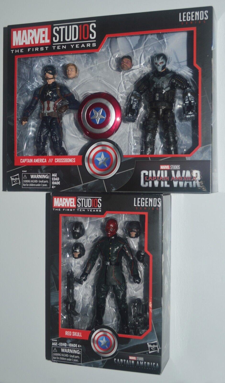 CAPTAIN AMERICA vs CROSSBONES 2-pk & RED SKULL Marvel Studios Hasbro MIP