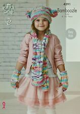 KNITTING PATTERN Girls Easy Knit Scarf, Fingerless Mitts and Hat Chunky KC 4391