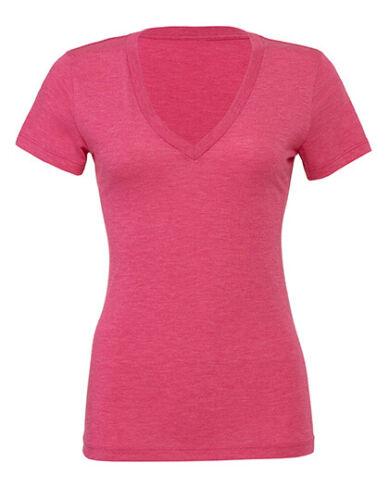Damen Melange T-Shirt mit V Ausschnitt Shirt tiefer Ausschnitt