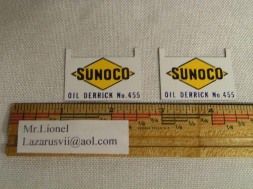 NOS! Lionel 455 Oil Derrick SUNOCO Billboard Signs 455-53 YOU GET 2 SIGNS