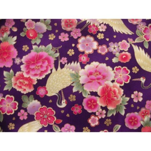 coupon tissu Japonais 55x49cm grue fleur doré violet 80