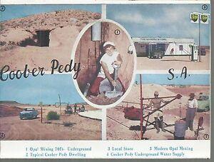 FOLD OUT VIEWS OF COOBER PEDY SOUTH AUSTRALIA  POSTCARD
