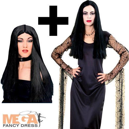 Morticia Adams Addams Family Halloween Fancy Dress Ladies Costume Black Wig