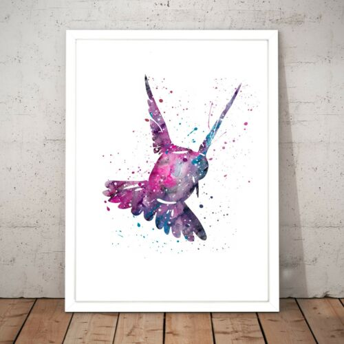 Watercolour Bird Drawing Colourful Purple Painting Home Decor Art Poster Print