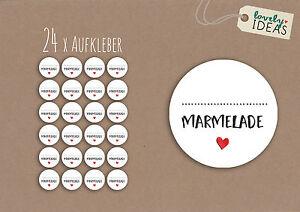 24-x-Geschenkaufkleber-034-Marmelade-034-40mm-weiss-Etiketten-Aufkleber-Sticker