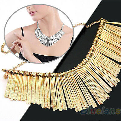 Women's Statement Tassels Choker Bib Adjustable Collar Chain Necklace Jewelry