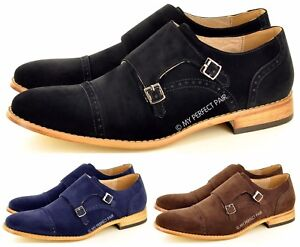 Mens Leather Lined Double Monk Strap Suede Loafers Casual Office