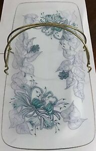 Vintage-1950-s-Rectangular-Floral-Cake-Sandwich-Stand-With-Gilt-Curved-Handle