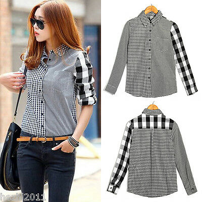 UK 8-18 Stylish Vintage Button Down Lapel Checked Plaid Print Top T Shirt Blous
