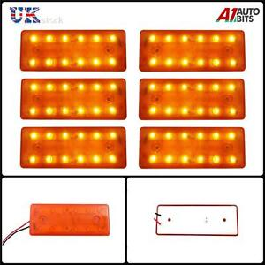 6-piece-12V-12-LED-Face-avant-arriere-Ambre-Orange-FEUX-DE-POSITION-CAMION