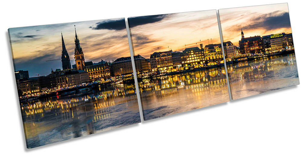 Hamburg Skyline City Framed CANVAS PRINT Triple Wall Art