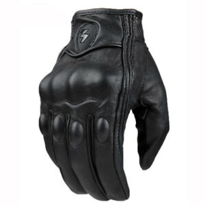 d650dafc915 Image is loading Leather-gloves-for -motorcycle-vintage-classic-with-protections-