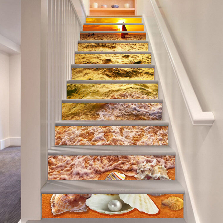 3D Sea sunset Stair Risers Decoration Photo Mural Vinyl Decal Wallpaper AU