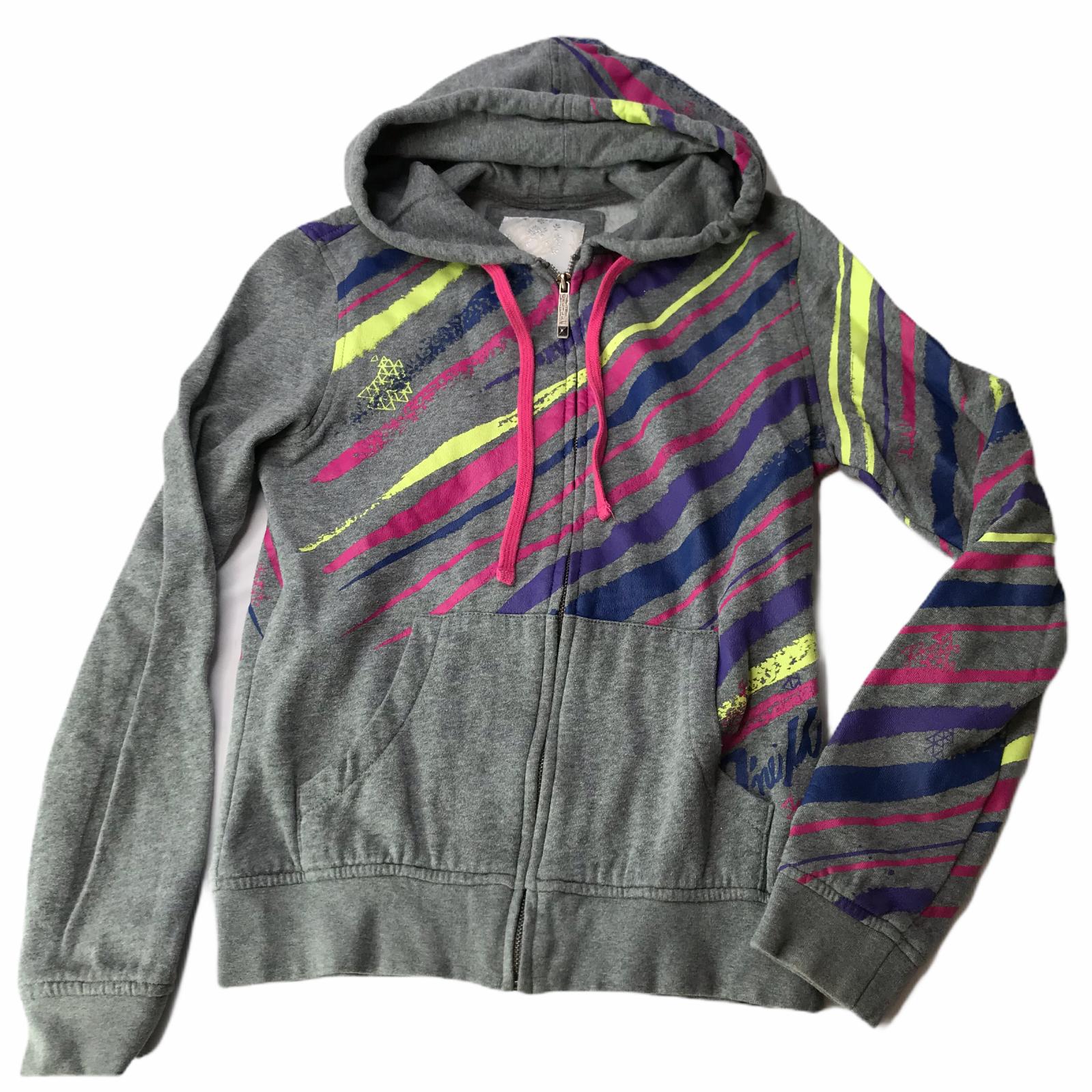 O'Neill Hooded Sweatshirt Hoodie Jacket Full Zip Gray Pink Stripes Small