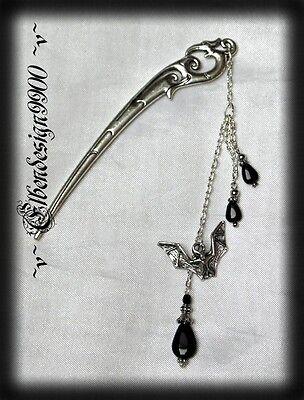 ^v^Hairstick*Black Bat*Hairpin*Gothic*schwarz*Haarschmuck*Haarstab*Vampir ^v^