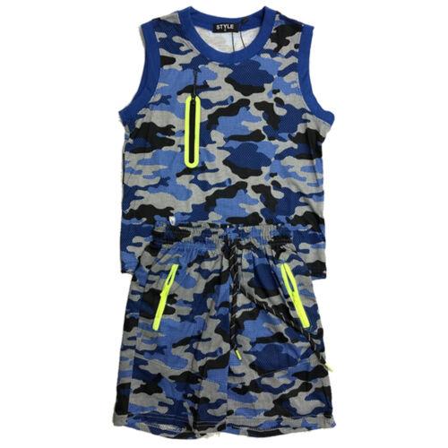 Boys Kids Vest T-Shirt Short Set Camo Army Camouflage Summer Shorts