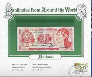 *Banknotes of all Nations Honduras 1 Lempira 1980 UNC