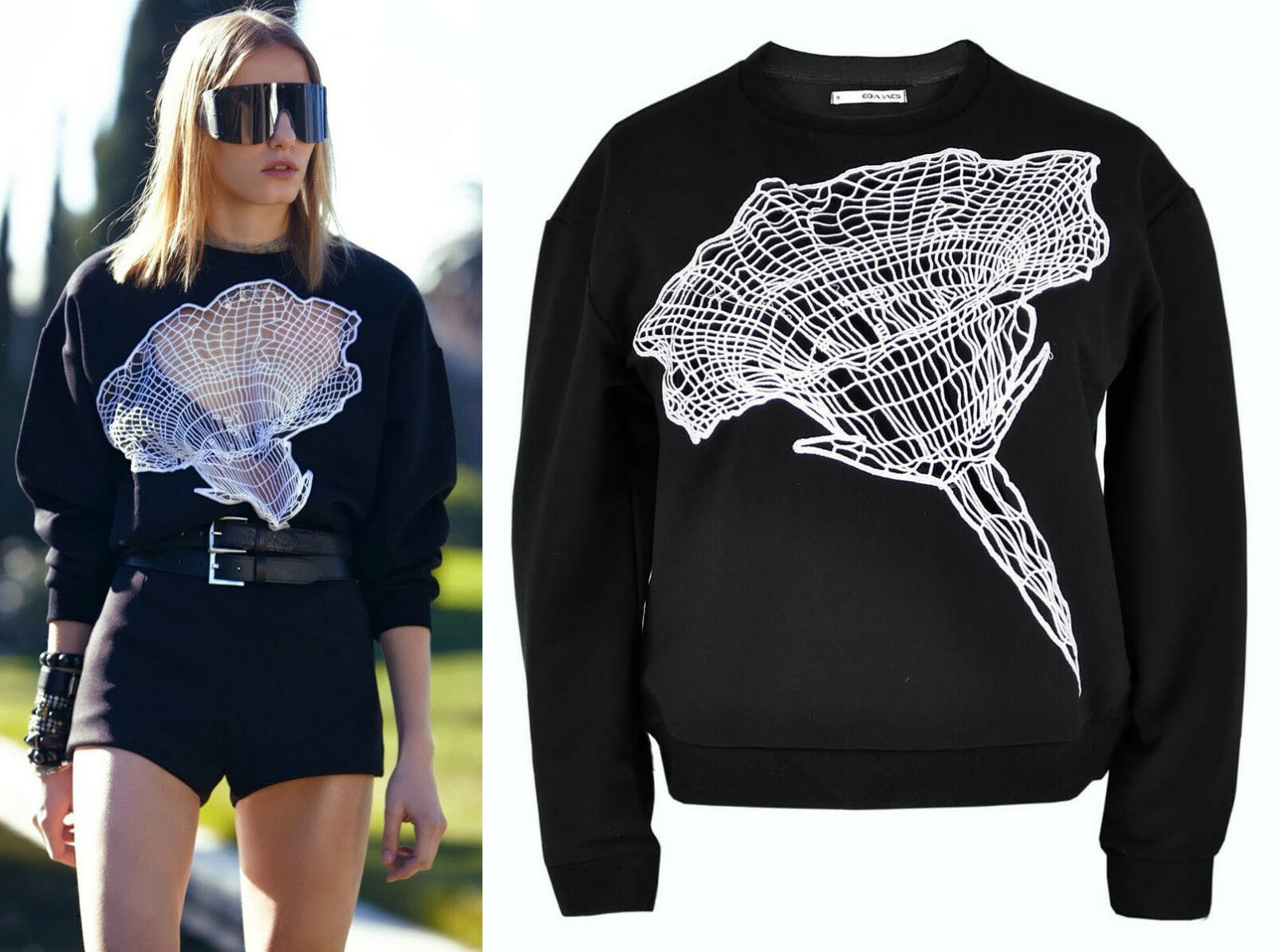 schwarz Weiß Cut-out See-through Lace Emboriderot Flower Digital Sweatshirt Top