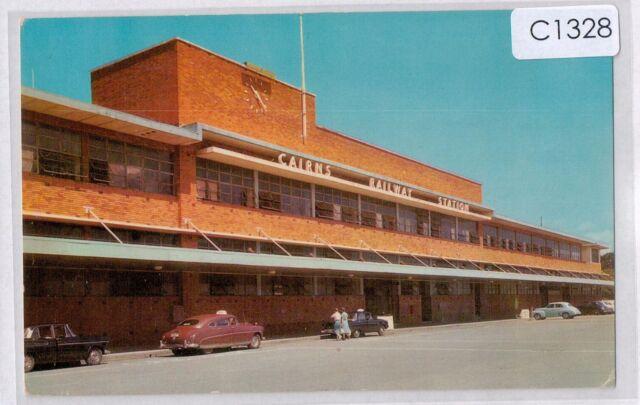 C1328jwb Australia Q Cairns Railway Station MV c1950's vintage postcard