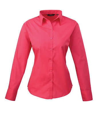 NEW PREMIER LADIES WOMENS LONG SLEEVE POPLIN BLOUSE SHIRT TOP BUSINESS WORK COOL