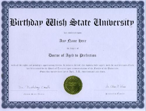 Aged to Perfection Diploma Award Birthday Gag Gift
