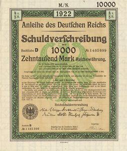 Anleihe-des-Deutfchen-Reichs-1922-German-10-000-marks-bond-certificate-w-coupons