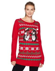 af537b8e Blizzard Bay Women's Ugly Christmas Sweater Kissing Penguins Tunic ...